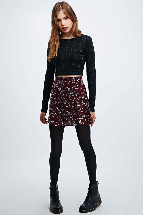 boots w:floral skirt
